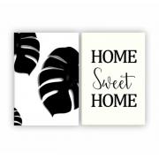 Quadro Home Sweet Home Costela de Adão Preto e Branco - Kit 2 telas