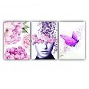 Quadro Jardim de Borboletas com Flores Rosa Impacto - Kit 3 telas