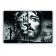 Quadro Jesus e Cruz Preto e Branco -  Kit 2 telas