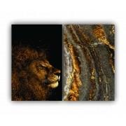 Quadro Leão Abstrato Ouro -  Kit 2 telas