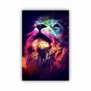 Quadro Leão Colorido Moderno - Tela Única