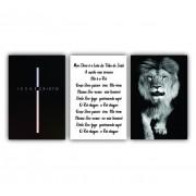 Quadro Leão e Cruz Jesus - Kit 3 telas