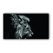 Quadro Leão e Seu Rugido Preto e Branco Savana - Tela Única
