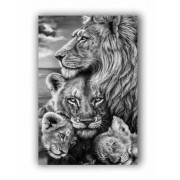 Quadro  Leão e sua Família Preto e Branco - Tela Única