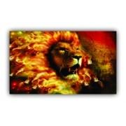 Quadro Leão Fogo Rei Jesus - Tela Única