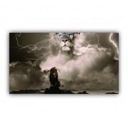 Quadro Leão Na Tempestade Vencedor - Tela Única