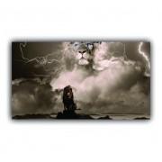 Quadro Leão Tempestade - Tela Única