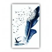 Quadro Liberdade Azul e Pássaros Fluir - Tela Única