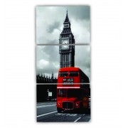Quadro Londres Noturno Vertical - Kit 3 telas
