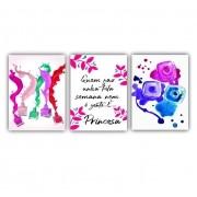 Quadro Manicure Cores Vibrantes Rosa Pink - Kit 3 telas