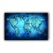 Quadro Mapa Mundi Azul Luxo - Tela Única