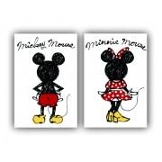 Quadro Mickey e Minnie Minimalista Casal Love -  Kit 2 telas