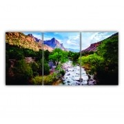 Quadro Montanhas Rochosas Natureza Linda - Kit 3 telas