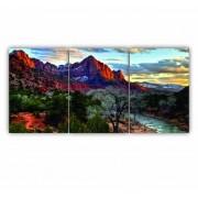 Quadro Montanhas Rochosas Cores Vibrantes - Kit 3 telas