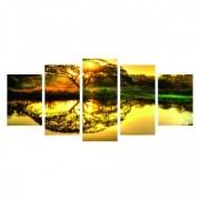 Quadro Mosaico - Árvore Refletida Céu Amarelo Colors
