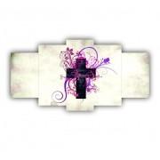 Quadro Mosaico Cruz Feminino - 5 Telas