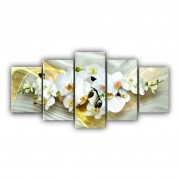 Quadro Mosaico Orquídeas - 5 Telas