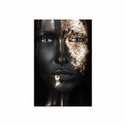 Quadro Mulher Black and Gold Preto e Dourado 2 - Tela Única