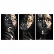 Quadro Mulher Black and Gold Preto e Dourado - Kit 3 telas