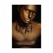 Quadro Mulher Black Cobre Preto e Dourado - Tela Única