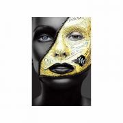 Quadro Mulher Black Face Preto e Dourado 1 - Tela Única