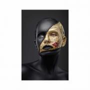 Quadro Mulher Black Face Preto e Dourado 2 - Tela Única