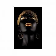 Quadro Mulher Black Face Preto e Dourado 3  - Tela Única