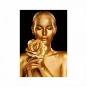 Quadro Mulher Flor e Ouro Preto e Dourado - Tela Única