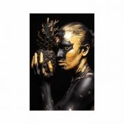 Quadro Mulher Gold Tinta Abacaxi Preto e Dourado - Tela Única
