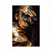 Quadro Mulher Gold Tinta Preto e Dourado - Tela Única