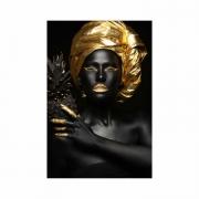Quadro Mulher Gold Turbante Abacaxi Preto e Dourado - Tela Única
