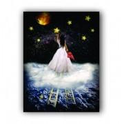 Quadro Mulher Noite Estrelada Céu - Tela Única