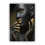 Quadro Mulher Preto e Dourado Luxo - Tela Única