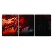Quadro Natureza Árvore Folhas Vermelhas  - Kit 3 telas