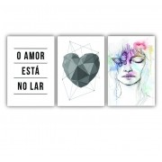 Quadro O Amor está no Lar Coração - Kit 3 telas