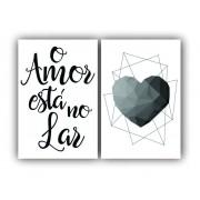 Quadro  O Amor Está no Lar  -  Kit 2 telas