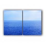 Quadro  Oceano De Paz Azul -  Kit 2 telas