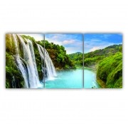 Quadro Paisagem Cachoeira Paradisíaca - Kit 3 telas