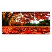 Quadro Paisagem Flores Vermelhas Cores Intensas - Kit 3 telas