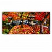 Quadro Paisagem Flores Vermelhas Outono - Kit 3 telas