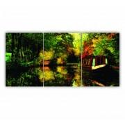 Quadro Paisagem Floresta Tropical Rio - Kit 3 telas