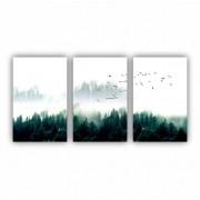 Quadro Paisagem Neblina Pássaros - Kit 3 telas