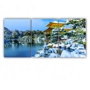 Quadro Paisagem Neve Japão - Kit 3 telas