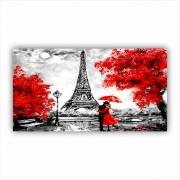 Quadro Paris Vermelho Casal - Tela Única