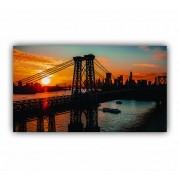 Quadro Ponte New York Entardecer - Tela Única