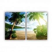 Quadro Praia Palmeiras -  Kit 2 telas