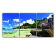 Quadro Praia Paradisíaco Cores Vibrantes - Kit 3 telas