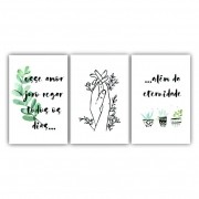 Quadro Regar Amor Flor Clean - Kit 3 telas