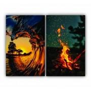 Quadro Sunset Ondas e Fogueira -  Kit 2 telas