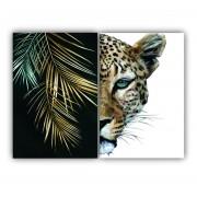 Quadro Tigre e Folhas Ouro -  Kit 2 telas